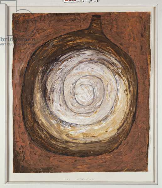 Rounded Bottle, 1934 (gouache on tan paper)