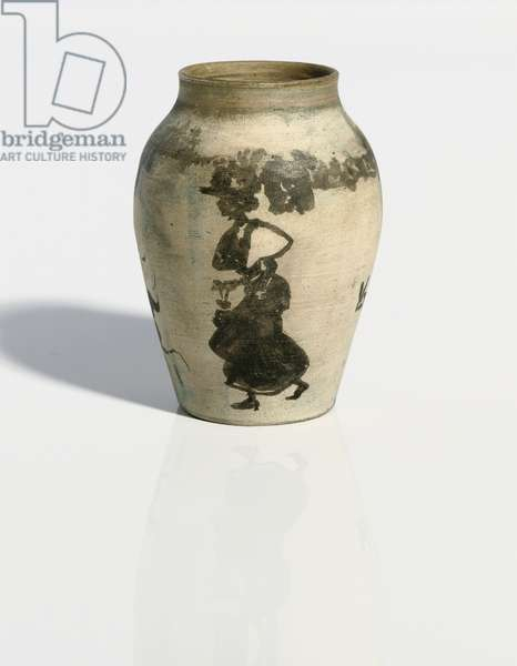 Petit vase: scène de rue, c.1894-95 (India ink on unglazed painted porcelain baluster vase)