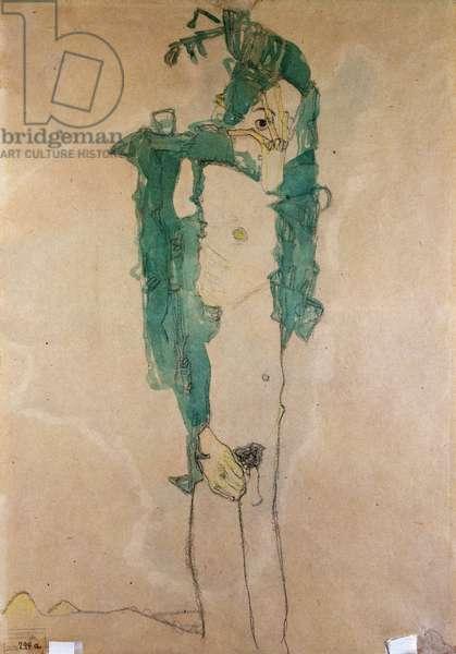 Self Portrait, c.1910 (w/c & pencil on buff paper)
