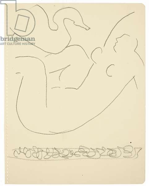 Etude (Léda et le cygne) (black Conté crayon on paper)
