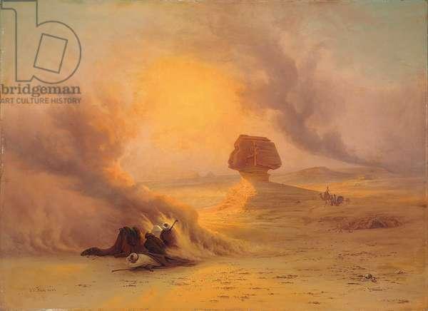 A Caravan caught in the Sinum wind near Gizah (oil on canvas)