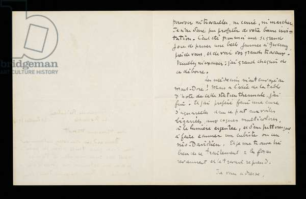 Autograph letter to Claude Monet, 21 July 1920 (w/c, pencil & ink on folded paper)