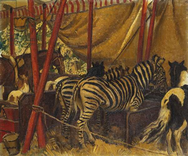 Circus Zebras and Horses (oil on canvas)