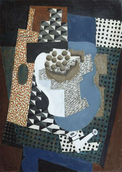 A Bottle of Anis del Mono, a Fruit Dish and a Pipe, 1915 (oil & sand on board)