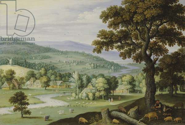 A river valley with a swineherd resting under a tree in the foreground, a hamlet beyond (oil on panel)