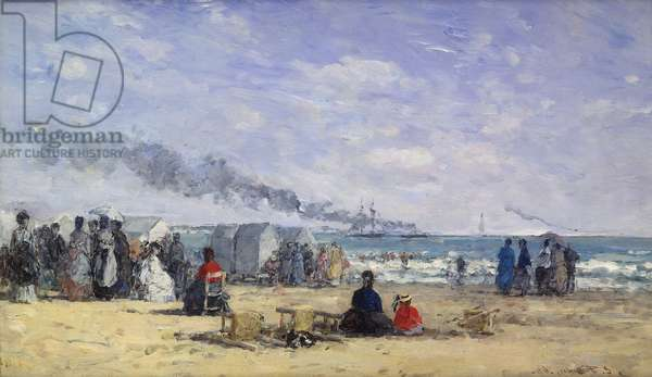 The Beach at Trouville at Bathing Time; La Plage de Trouville a l'Heure du Bain, 1868 (oil on panel)