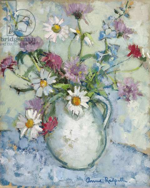 Summer Flowers in a Jug,  (oil on panel)