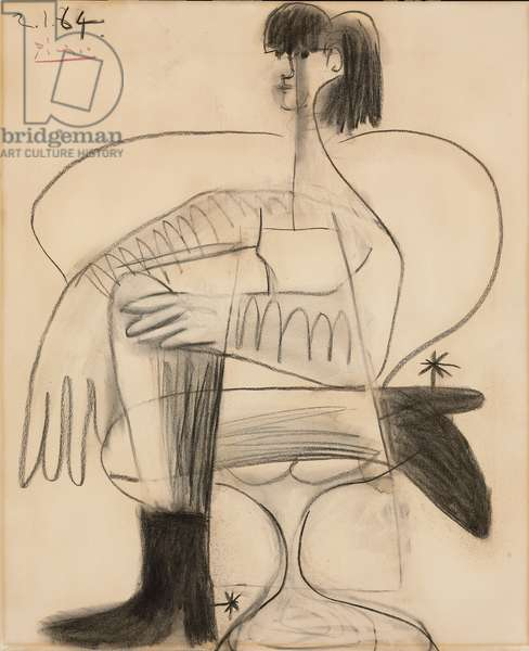 Woman Sitting in a Horse Costume; Femme assise en costume de cheval, 1964 (charcoal on paper)