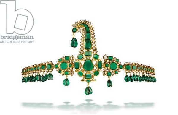 Emerald sarpech, Deccan, mid-18th century (emeralds, diamonds, enamel & yellow gold)
