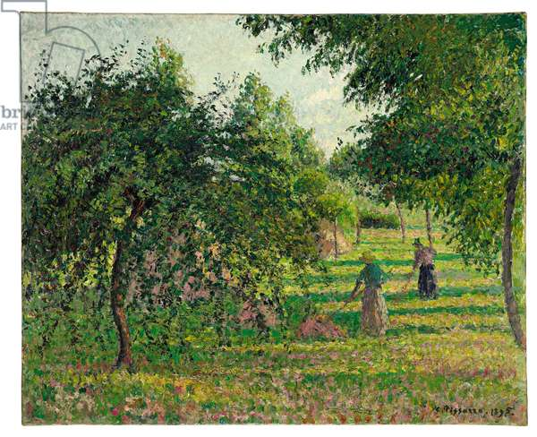 Apple Trees and Hay Makers at Eragny, 1895 (oil on canvas)