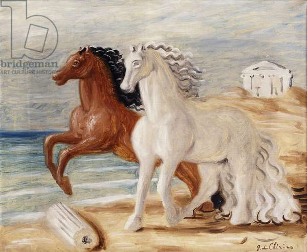 Two Horses on the Beach; Due Cavalli sulla Spiaggia, (oil on canvas)
