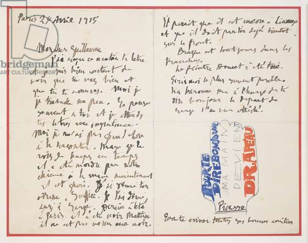 Letter to Apollinaire, 1915 (ink, gouache & pencil on paper)