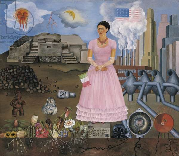 Self-Portrait on the Borderline between Mexico and the United States, 1932 (oil on metal)
