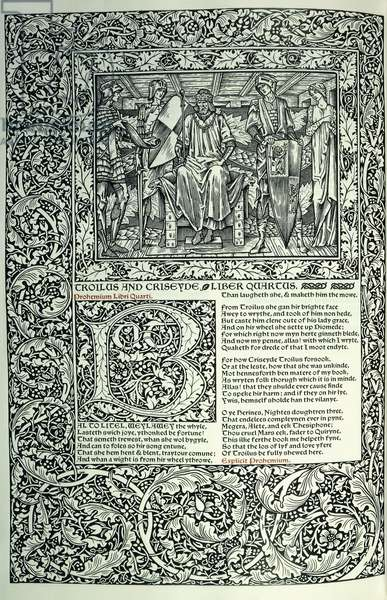 Scene from 'Troilus and Criseyde', historiated initial 'B', manuscript with full page-border, 1896 (woodcut in black and red)
