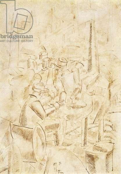 Soldiers in the Abri, Argonne; Soldats dans un Abri, Argonne, 1915 (pen and brown ink on paper)