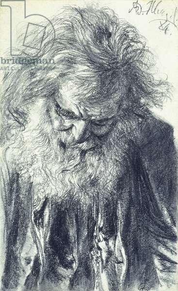 Portrait of an Old Man, 1884 (pencil on cream paper)