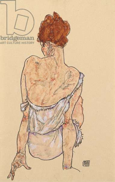 Seated woman in underwear, rear view, 1917 (crayon on paper)