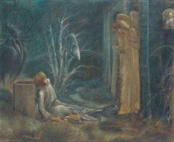 The Dream of Lancelot,  (coloured chalks on buff paper)