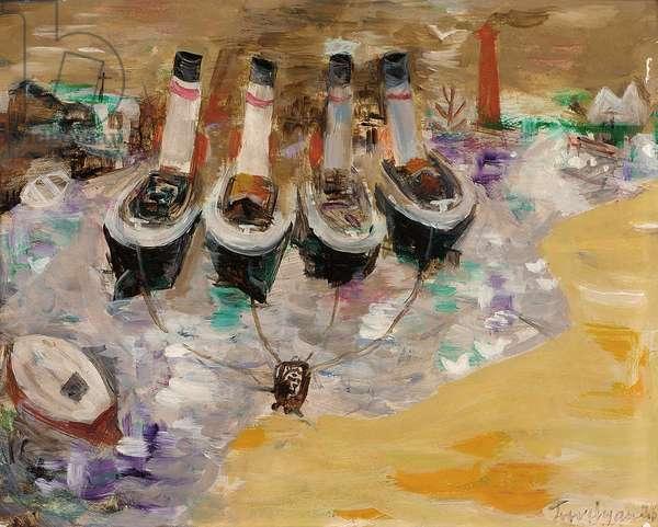 Tug Boats, 1978 (oil on board)