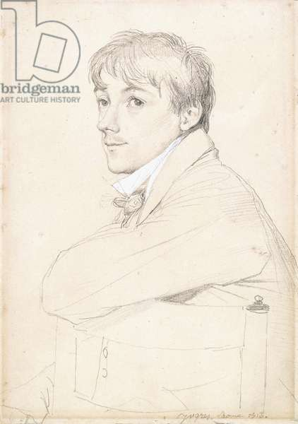 Jean-Louis Provost, seated and resting his Left Arm on the Back of a Chair, 1813 (black lead on paper)
