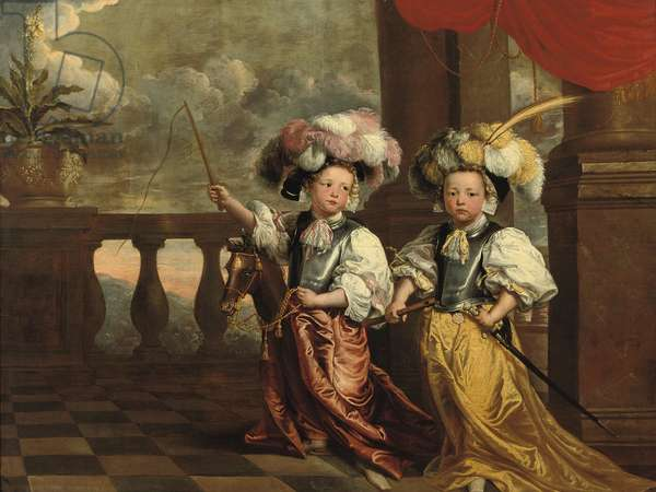 A double portrait of two boys, full-length, dressed as knights, one holding a flute, the other on a hobby-horse holding a whip, both standing on a balcony, 1668 (oil on canvas)
