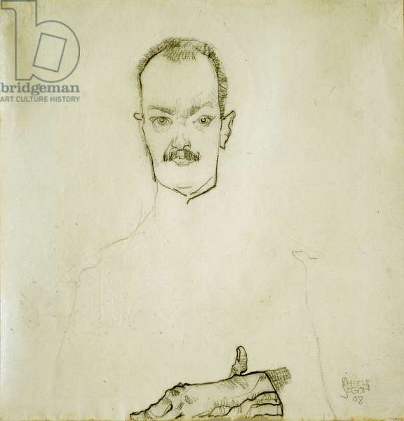 Portrait of Arthur Roessler, 1910 (chalk & pencil on paper)