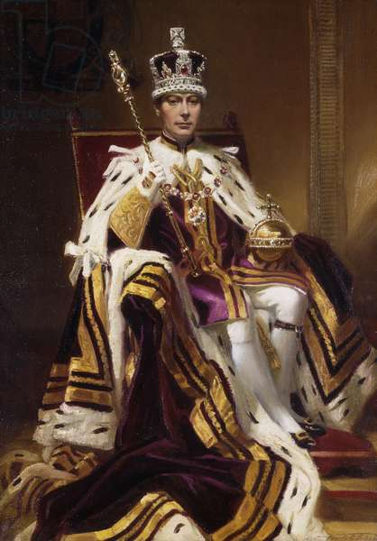 Portrait of H. M. King George VI, seated full length, in Coronation Robes, 1937 (oil on canvas)