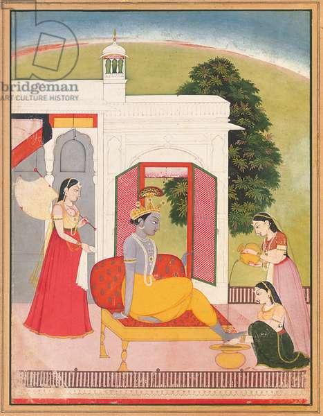Krishna's feet washed by maids, Punjab Hills, Basohli, c.1780 (opaque pigment on paper)