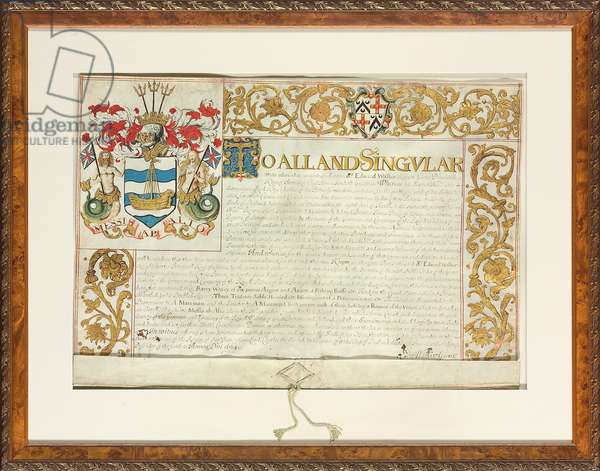 Letters patent issued by Sir Edward Walker, Garter King of Arms, 13th December 1664 (vellum)