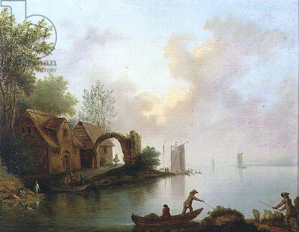 Wooded River Landscape with Boatmen