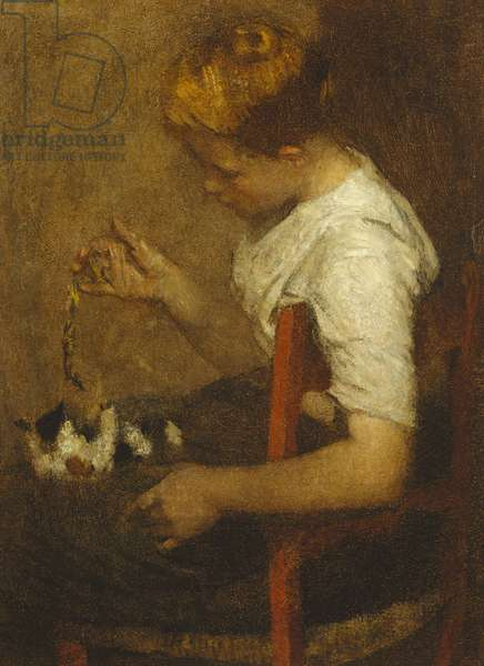 Girl playing with a Cat, 1907 (oil on canvas)