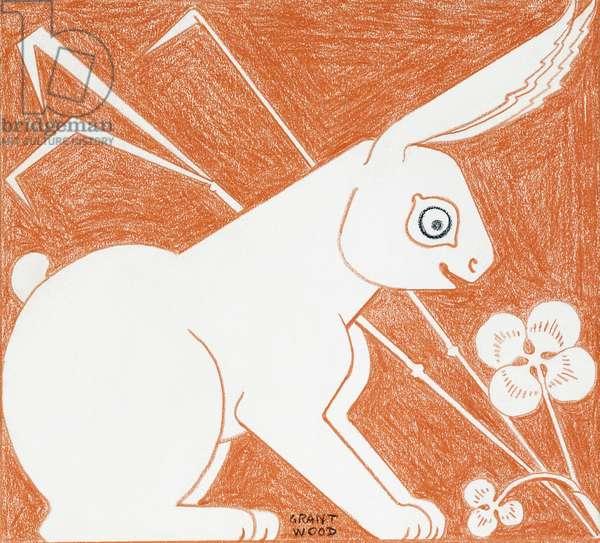 Rabbit,  (coloured pencil on paper)