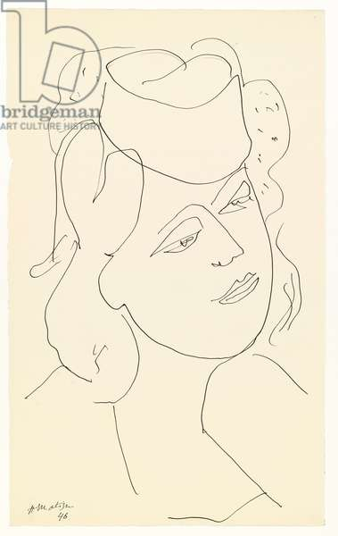 Woman with Hat, 1946 (pen and India ink on paper)