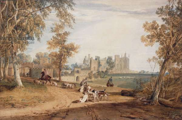 The North-West Front, Cassiobury, with Hounds and Huntsmen,  (watercolour and pencil)