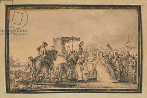 Marie Antoinette, exiting her carriage and surrounded by her cortege, comforting a peasant, 1773 (pen & ink and wash on paper)