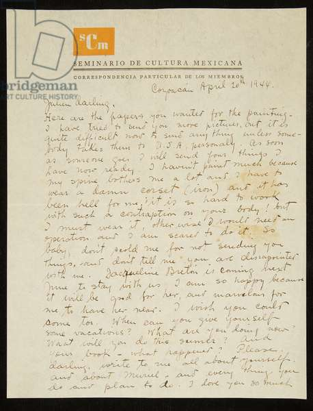 Letter from Frida Kahlo to Julien Levy, in English, 20 April 1944 (pen & ink on paper)