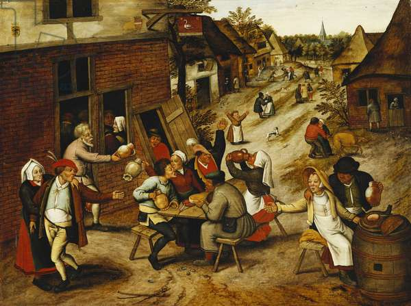 Peasants Merrymaking Outside the Swan Inn in a Village Street, 1630 (oil on panel)