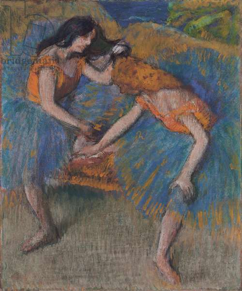 Two Dancers with Yellow Corsages, c.1902 (pastel on paper laid down on board)
