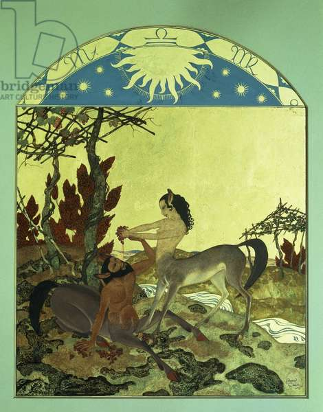 Autumn, 1921 (watercolour, gouache and metallic gold paint, with arched top)