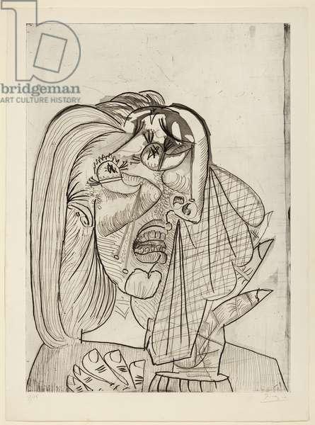 Crying Woman, I; La femme qui pleure, I, 1937 (etching, aquatint, drypoint and scraper on paper)