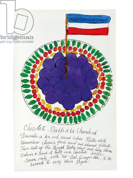 Wild Raspberries, 1959 (hand-coloured litho)