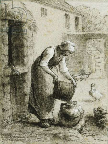Woman Pouring Water into Milk Cans (also known as Woman at the Well), c.1854-1857 (black crayon heightened with white on gray-beige paper)