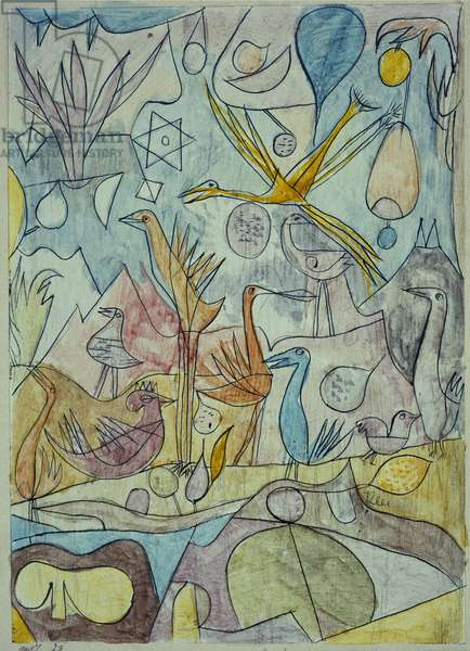 Flock of Birds, 1917 (pen & ink and pencil on paper mounted on board)