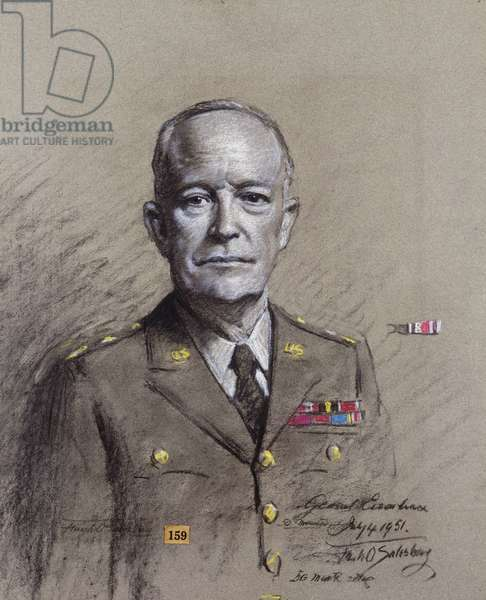 Portrait of General Dwight David Eisenhower, President of the United States 1953 to 1961, half length in uniform, 1951 (charcoal and white coloured chalk on grey paper)
