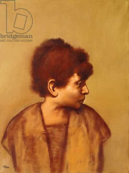 Figure in Profile; Figura de Perfil (oil on canvas)