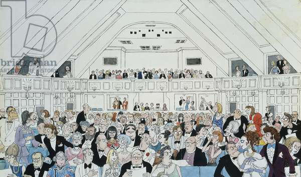 An Audience at Glyndebourne, 1969: Cover Design for the Programme, 1969 (watercolour, bodycolour, pen and brush and pencil heightened wit)