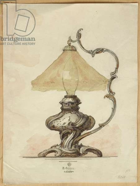 Drawing of a silver table lamp with a twisted fluted body in rococo style, House of Carl Faberge (pencil & w/c on paper)