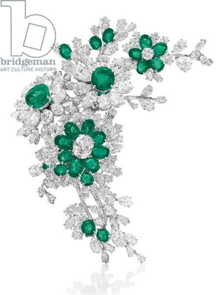 Flower brooch, 1960 (emeralds, diamonds & platinum)