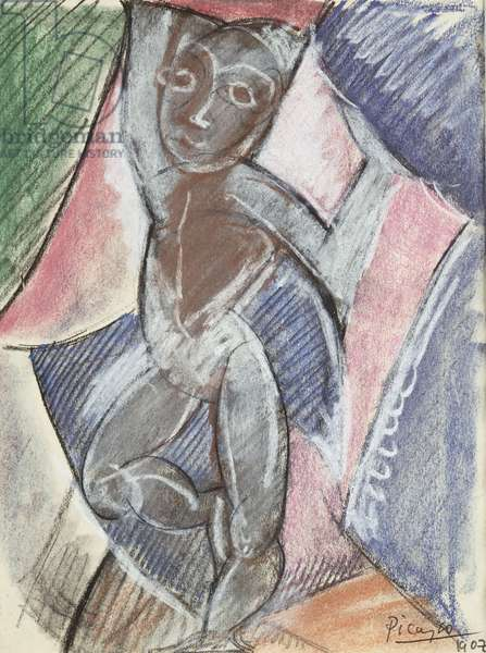 Nude with Raised Arms, 1907 (pastel & black chalk over pencil)