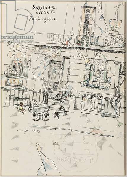 Clarendon Crescent, Paddington, 1953 (ink, graphite & pencil on paper laid down on board)